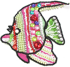 "Fish Pair with Multi-Colored Sequins and Beads and Gems 5.5"" x 6.5 """