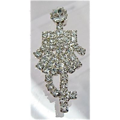 "Lady with All Rhinestones Silver 1.78"" x 7/8"""