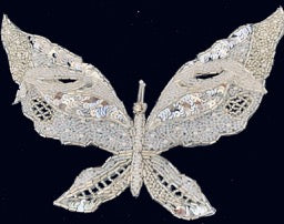 "Butterfly with  double layerr White and Silver Beads and Rhinestones 5"" x 7.5"""