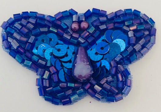"Butterfly Blue sequins and beading with pearl tear drop 2"" x 1"""