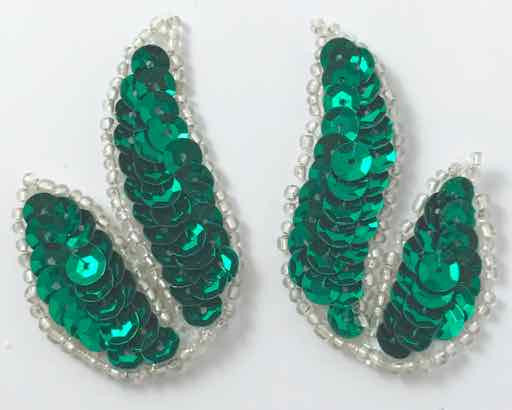 "Designer Leaf Pair with Green Sequins Silver Beads 2"" x 1.5"""