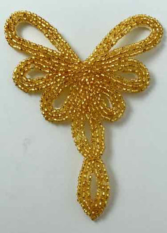 "Designer Gold Beaded Neckline 3.5"" X 4.5"""