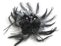 Brooch with black Feathers some Black White Polka Dots and 4 Rhinestones on Wire 11""