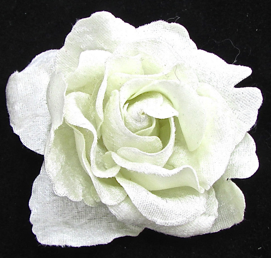Flower Rose With Satin White Petals 45 Sequinappliques