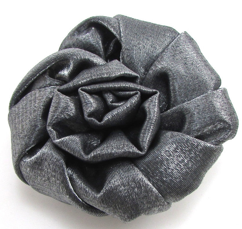 Brooch with Gun Metal Silk Fabrick Shaped into a Flower 3.5""