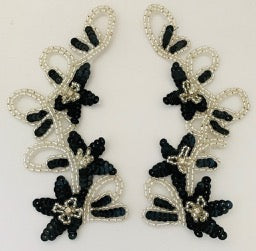 "Flower Neck Pair or Single with Black Sequins Silver Beads and Rhinestones 10.5"" x 9.5"""