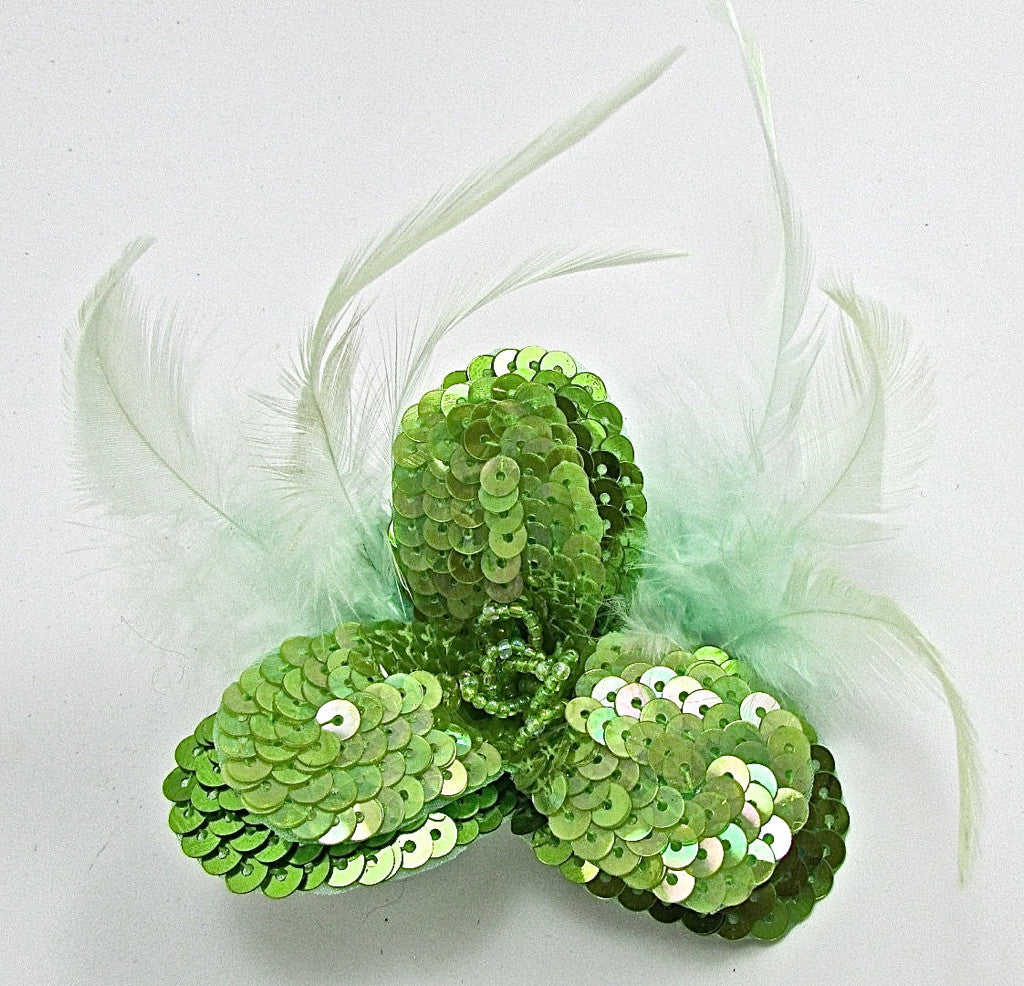 "Flower Lime Green Sequins and Beads with Feathers 3.5"" x 3.5"""