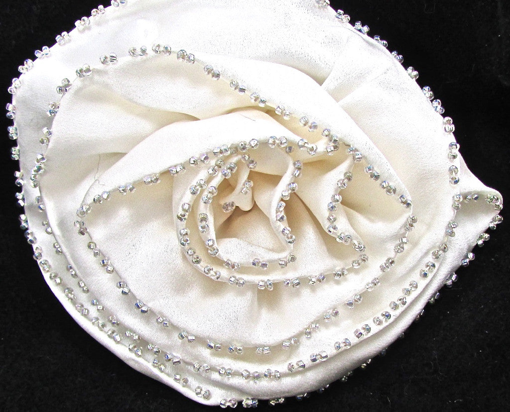 Flower White Satin with Tiny AB Beads 5""