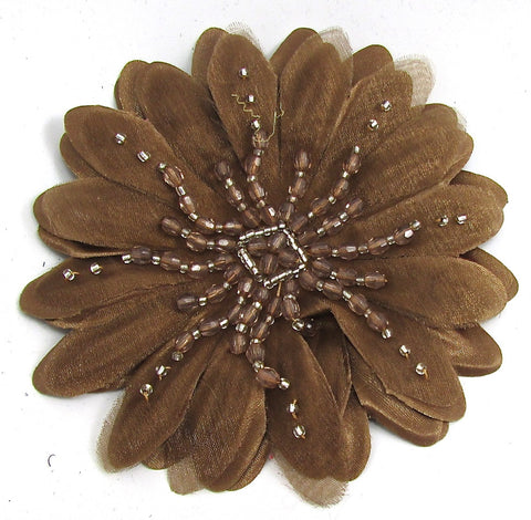 Flower Brooch Bronze Silk with Silver and Bronze Beads 4""
