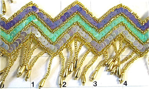 "Fringe Trim Multi-Colored Southwestern Style Sequins and Gold Beads  3"" Wide, Sold by the Yard"