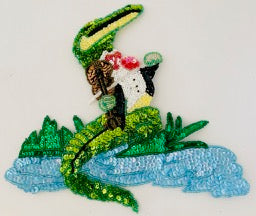 "Alligator with Violin Small 5"" x 5"" and Large 8.5"" X 9.5"""