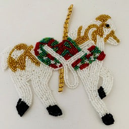 "Carousel Horse with Multi-Color Beads  6""x 6"""