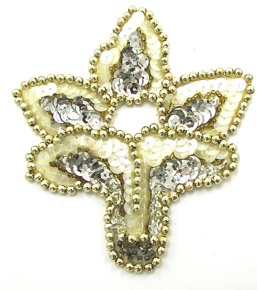 "Designer Motif with Silver Gold Beads and Iridescent Sequins 4.5"" x 4.25"""