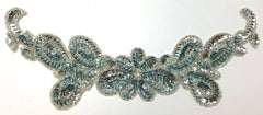 "Flower with Sequins and Beads Two Colors Ice Blue and China White 3.5"" x 10"""