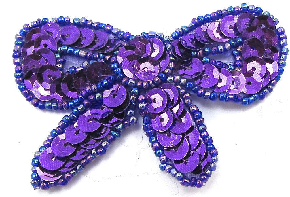 "Bow with Purple Sequins and Moonlite Beads 2"" x 3"""