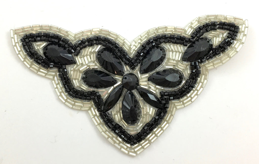 "Designer Motif with Black and Silver Beads and Stones 3"" x 5.5"""