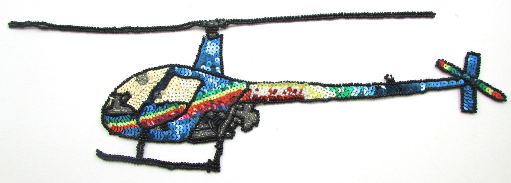 "Helicoptor with Multi-Colored Sequins and Beads 9"" x 12"""