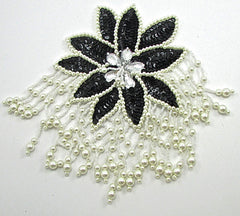 "Epaulet with Black and White Sequins and Beads and Clear Stones 8"" x 5.5"""