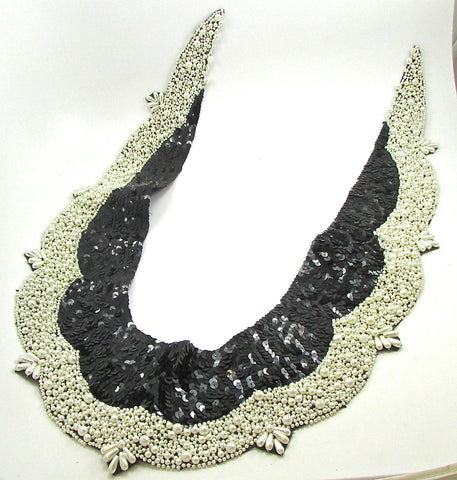 "Designer Motif Cotume Neckline or Over the Shoulder with Multi White Beads and Black Sequins  23"" x 16"""