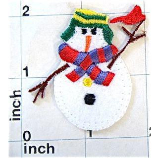 "Snowman With Stick Arms and Scarf, EmbroideredIron-on  2"" x 2"""