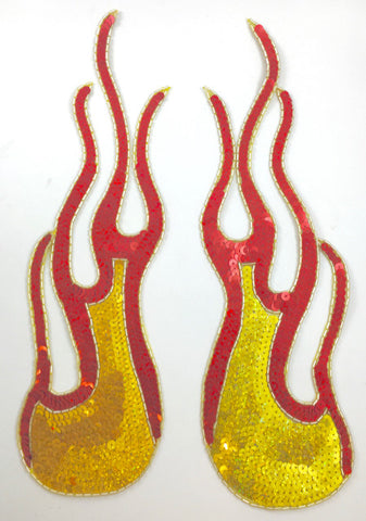 "Flames with Red and Yellow Laser Sequins and Beads, Custom Design 13.5"", 10"" and 7"""
