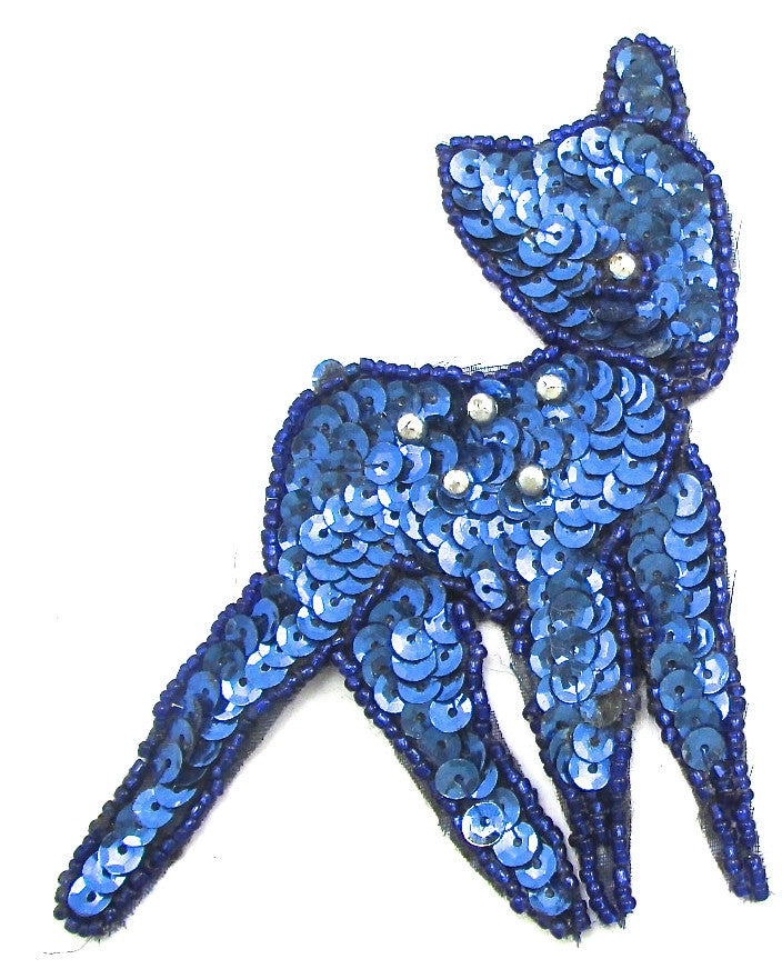 "Deer with Blue Sequins 4.5"" x 3.5"""