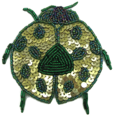 "Bug with Gold and Green Sequins and Beads 4.5"" x 4"""