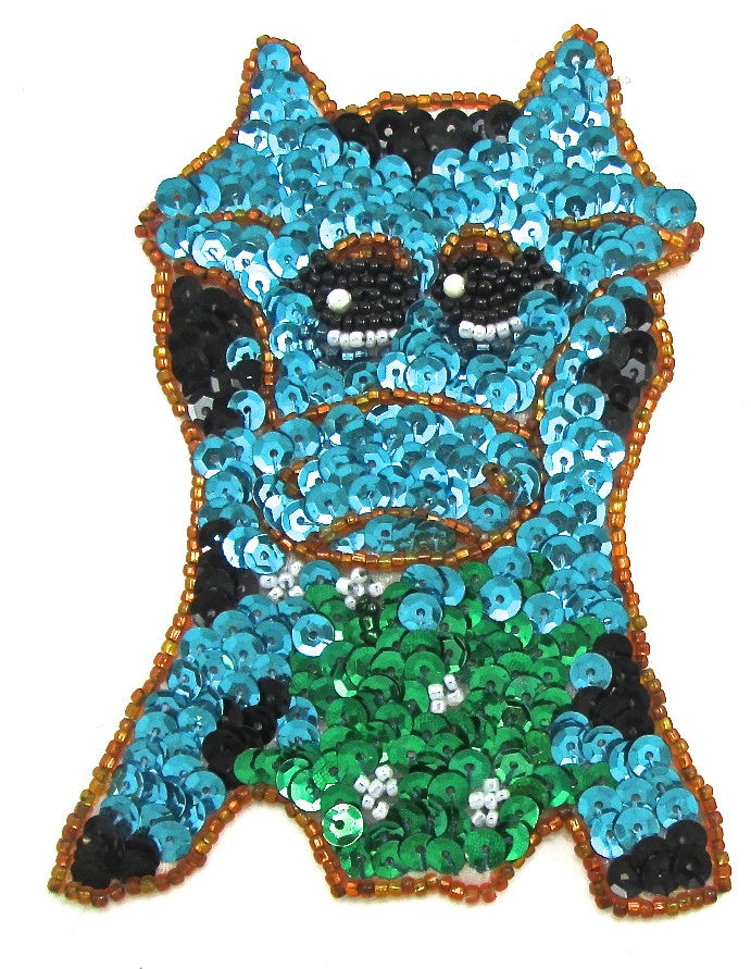 "Cow with Turquoise and Green Sequins 4.5"" x 3.5"""