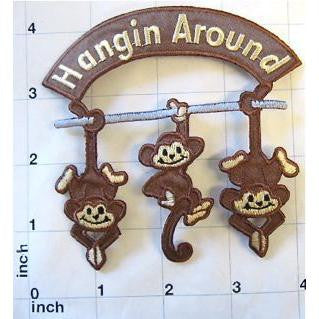 "Monkeys om bar with Words ""Hanging Around"", Embroidered Iron-on 4"" x 4"""