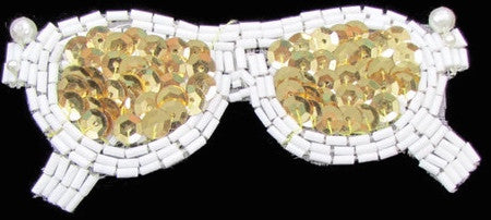 "Glasses with White Beads and Gold Sequins 2"" x 4"""