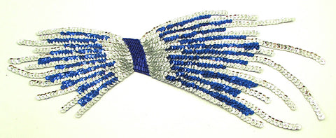 "Bow Shaped Designer Motif with Dark Blue and Silver Sequins 5.5"" x 15"""