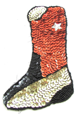 "Boot Cowboy with Red Black Gold Sequins and Beads 6.5"" x 3.5"""
