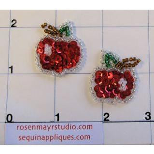 Apple Pair with Red and Green Sequins .5""