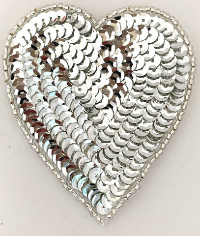 Heart with Silver Sequins and Beads 2.75""