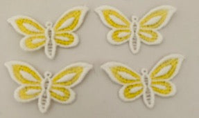 "Butterfly set of 4 Embroidered 1""x 2"""