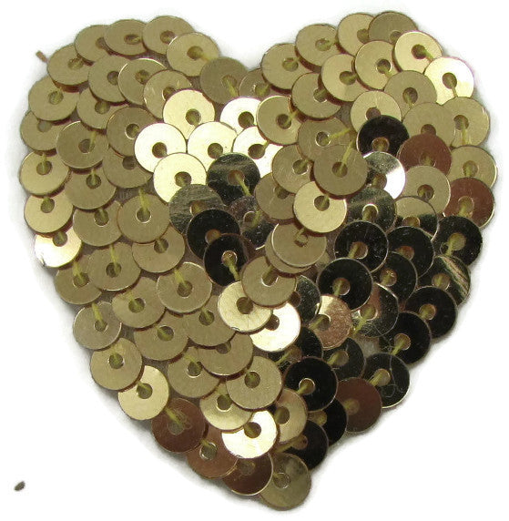 Heart with Flat Gold Sequins 1.5""