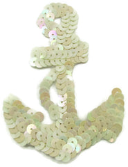 "Anchor with China White Flat Sequins 3.5"" x 2.25"" - Sequinappliques.com"
