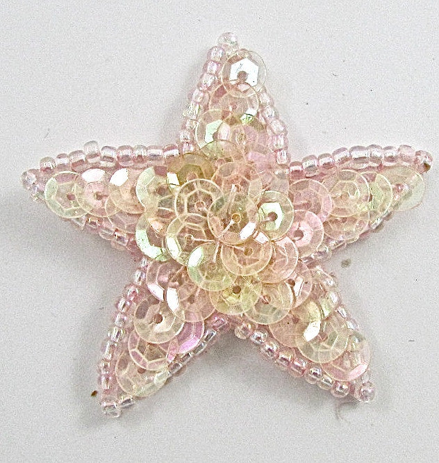 Star with Lite Pink Iridescent Sequins and Beads 1.5""