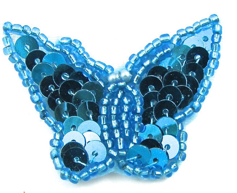 Butterfly with Turquoise Sequins and Beads