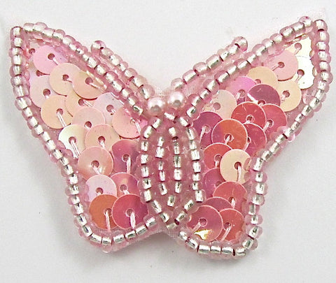"Butterfly with Pink Flat Sequins 1.5"" x 2"""