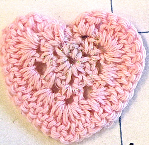 Heart Pink Embroidered 1.25""