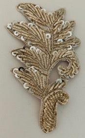 Silver Bullion Leaf with Sequins  2