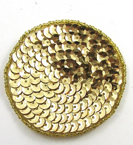 Dot Circle with Gold Sequins and Beads 2.25""