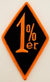"1%er Patch with Black and Orange Embroidery 3"" x 2"""