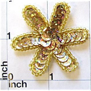 "Flower Light Gold Laser Sequin  with no pearl in middle 2"" x 2"""