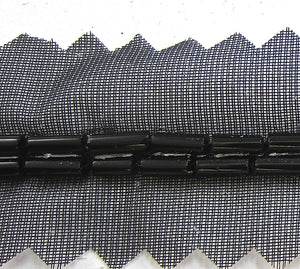 "Trim with Two Rows of Black Beads on Netting 1/16"" Wide, Sold by the Yard"