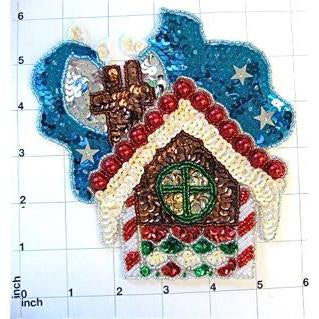 "Gingerbread House with Sky Beads and Sequins 6"" x 5"""