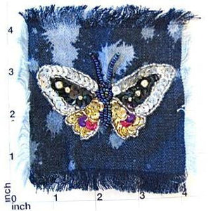 Butterfly Jean Patch with Denin Background 4""