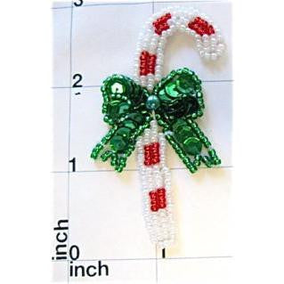 "Candy Cane with Green Bow 3"" x 1.25"""