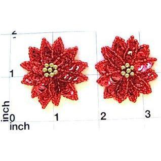 "Poinsetta Flower Pair with Red Sequins Gold Beads 2"" x 2"""